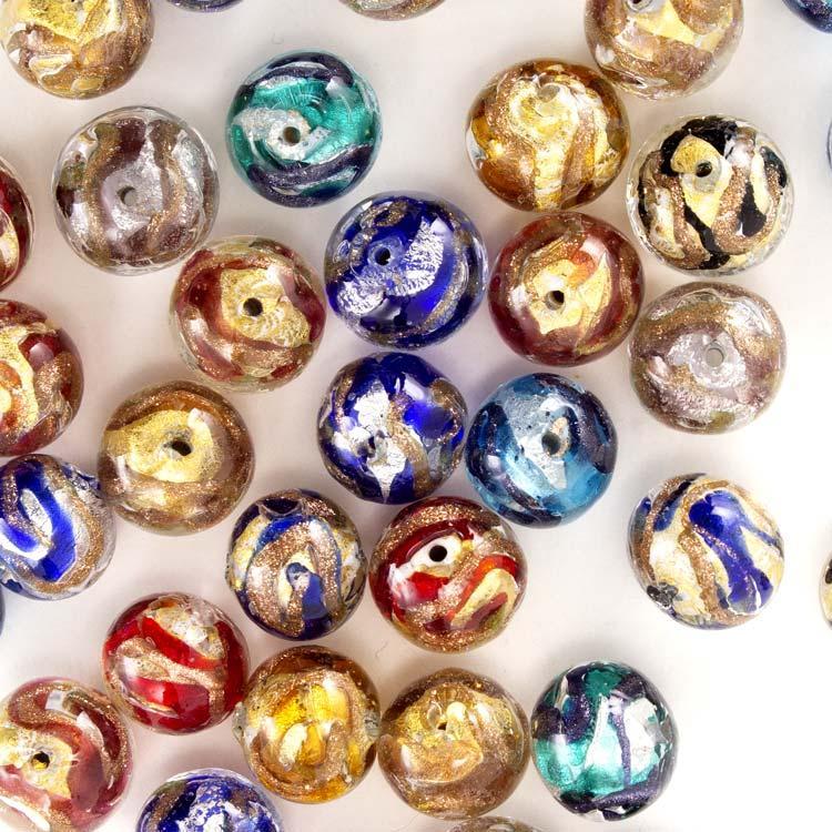 Perla di Murano tonda vetro sommerso Ø12 mm. Foglia oro o argento con avventurina. Foro passante.