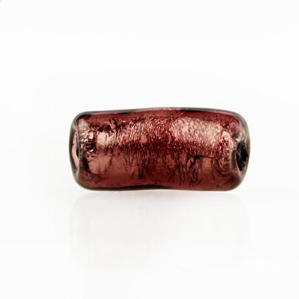 Perla di Murano tubo curvo Sommerso Ø8x18. Vetro ametista foglia argento. Foro passante.