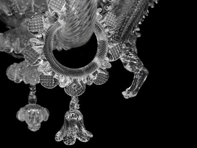 Fiore campanella h40 mm pendente vetro Murano cristallo trasparente