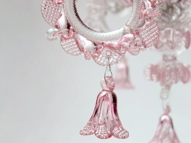 Fiore campanella h40 mm pendente vetro Murano rosa rubino trasparente