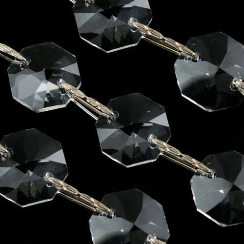 Catena 50 cm ottagoni 32 facce 14 mm cristallo. Clip nikel