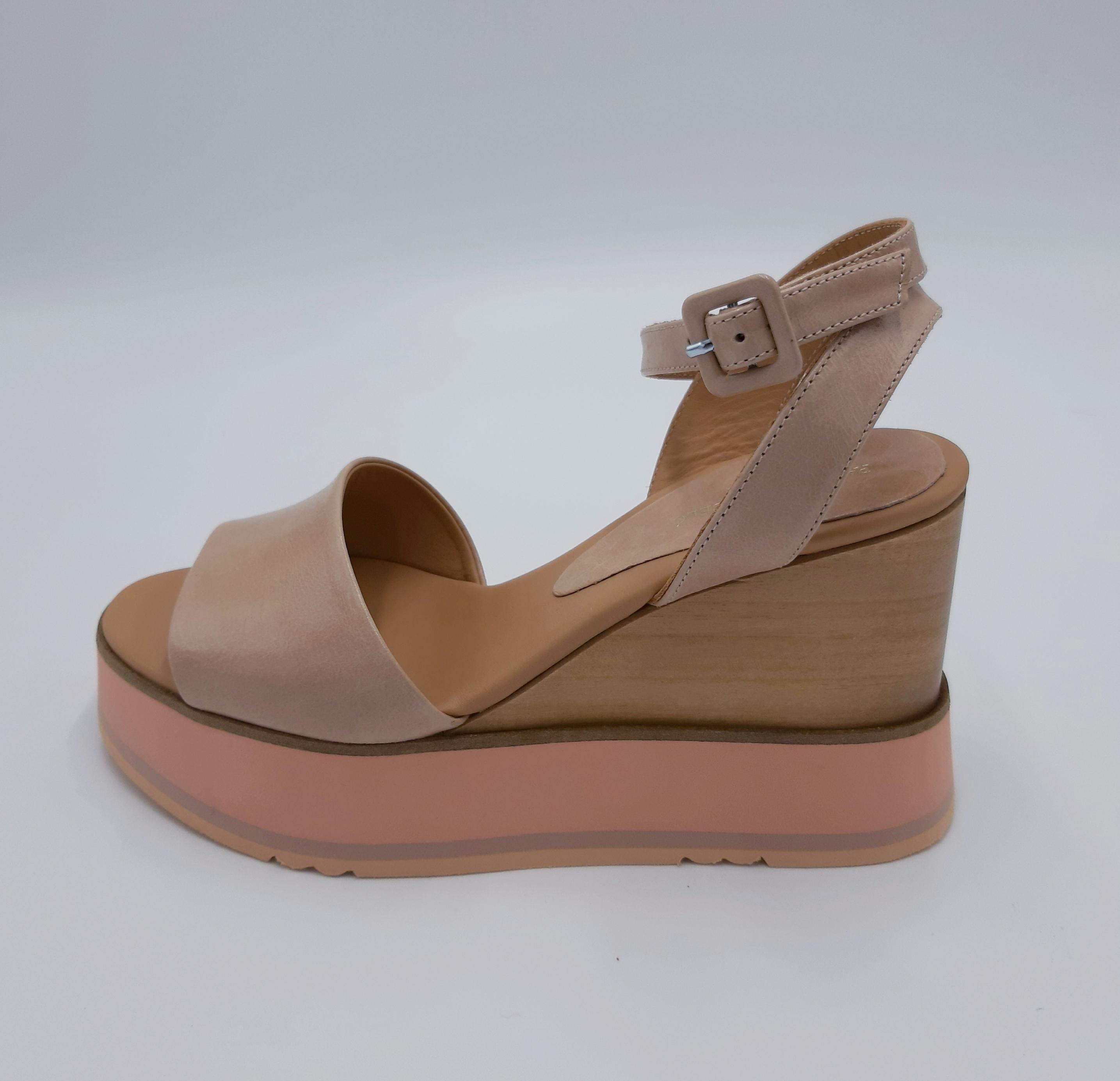 Sandalo zeppa in pelle Paloma Barcelò
