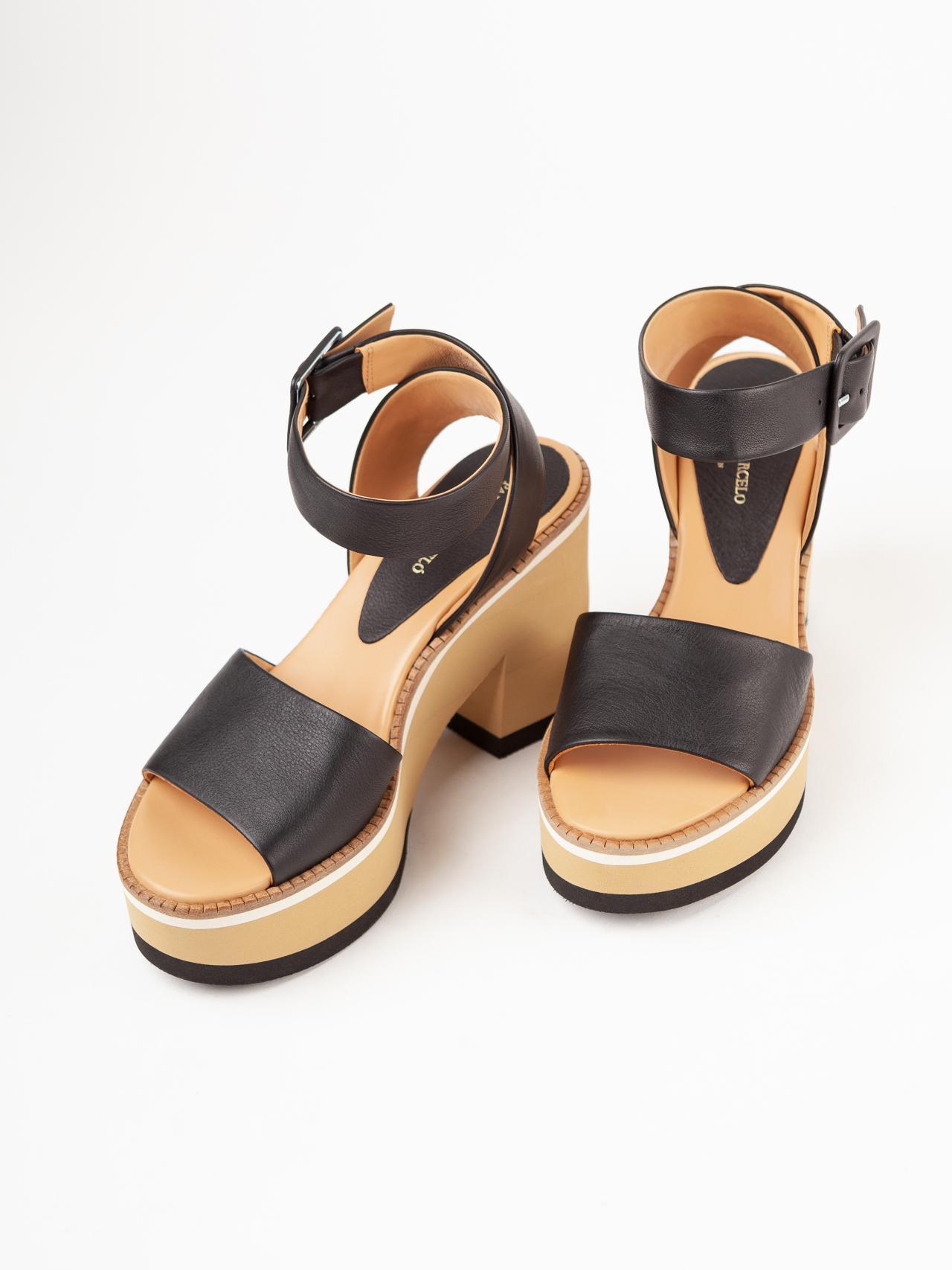 Sandalo tacco zeppa in pelle Paloma Barcelò