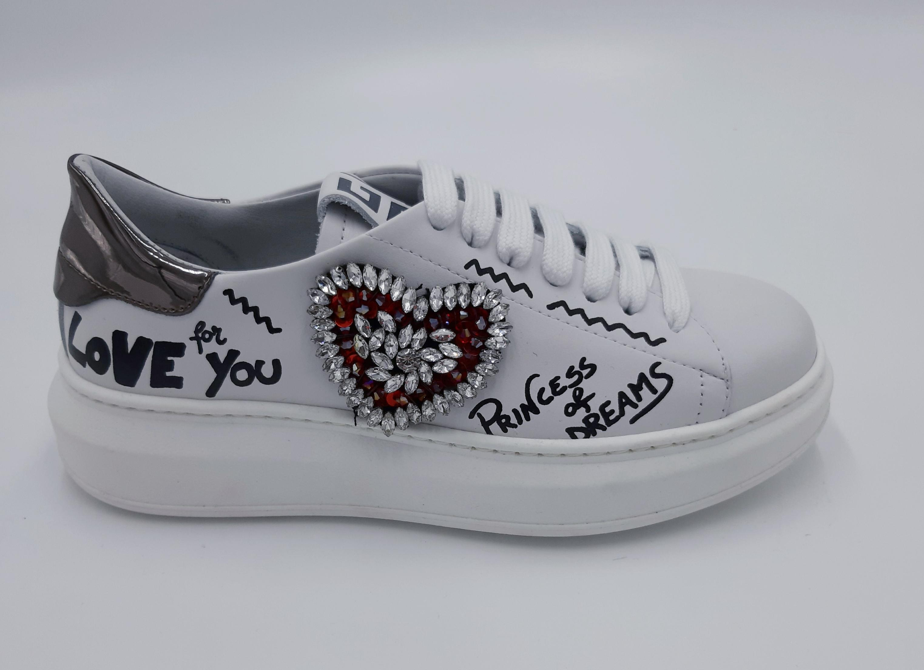 Sneakers cuore strass GIO+