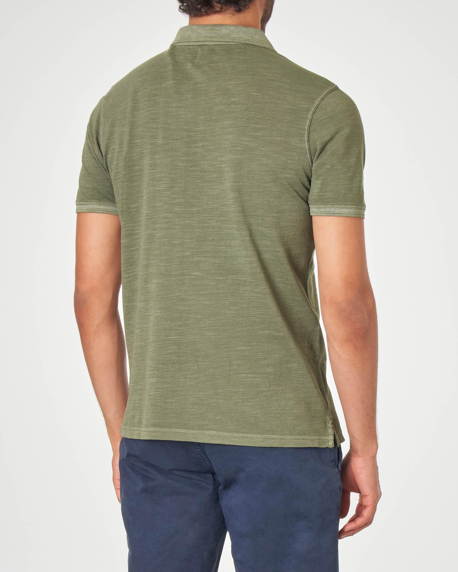 Polo verde militare in cotone fiammato