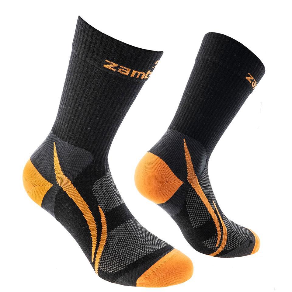 ZAMBERLAN® HIKING PATH MERINO SOCKS   -   Mid Cut   -   Black/Orange
