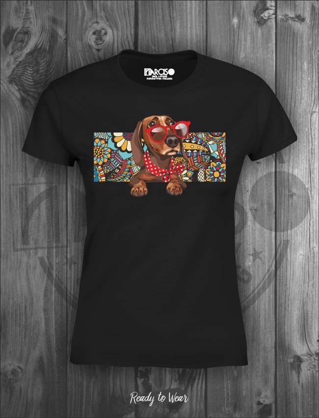 T-shirt in puro cotone manica corta slim nera soggetto bassotto  Narciso.