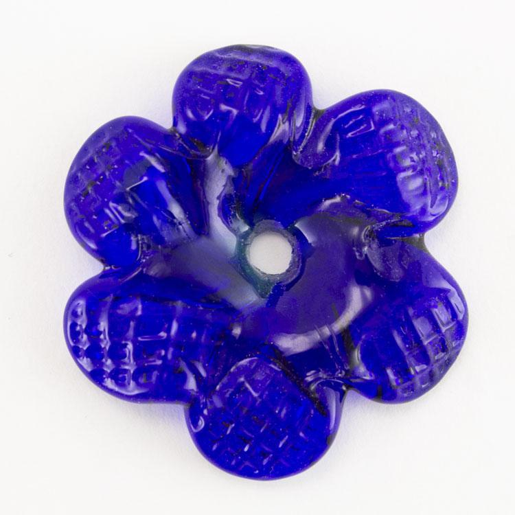 Rosellina a fiore in vetro di Murano colore blue zaffiro fatto a mano Ø50 mm con foro centrale