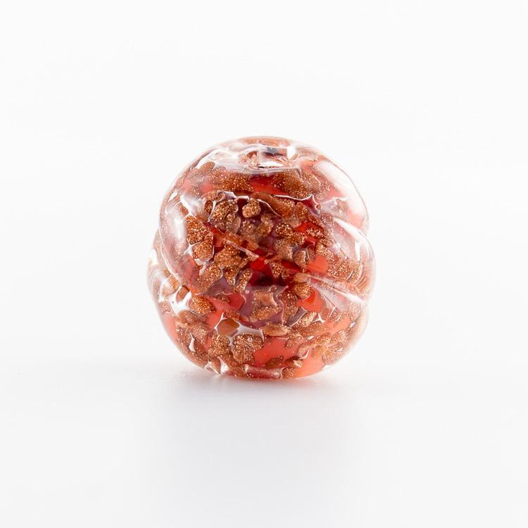 Perla di Murano melone Sommerso Ø18. Vetro rosa, con avventurina. Foro passante.