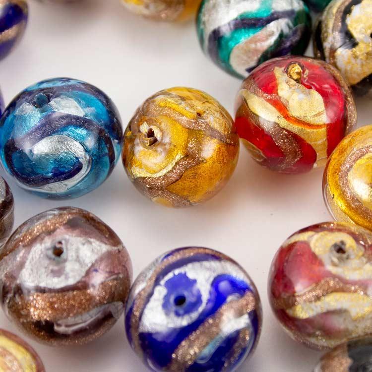 Perla di Murano tonda Ø18 per gioielli vetro. Colori minerali con foglia oro o argento e avventurina. Foro passante.