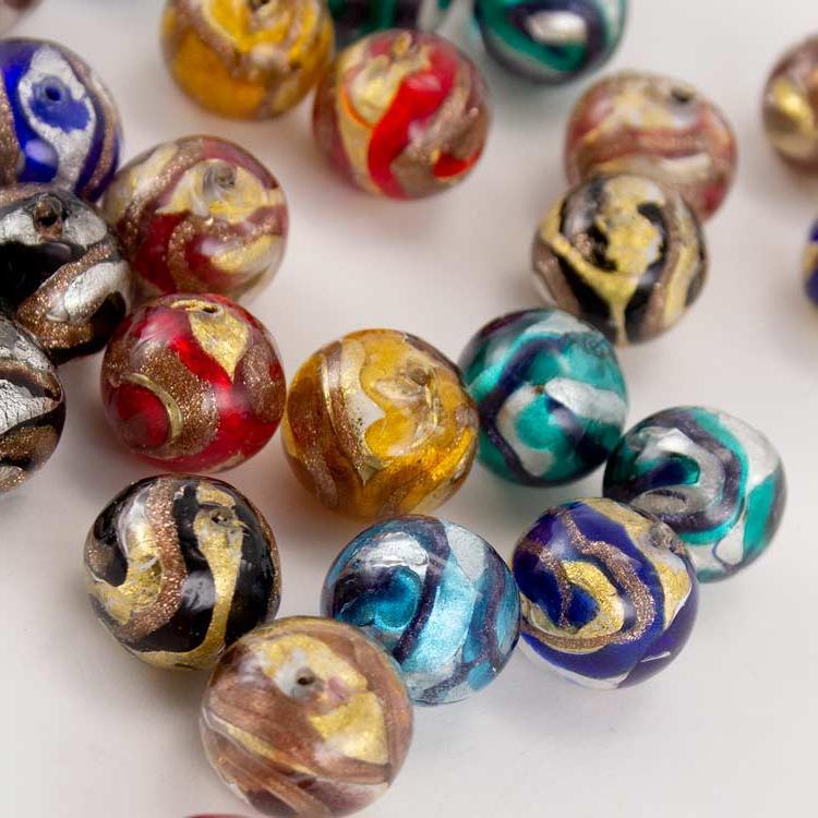 Perla di Murano tonda vetro sommerso Ø14. Foglia oro o argento con avventurina. Foro passante.