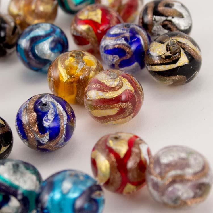 Perla di Murano tonda vetro sommerso Ø16. Foglia oro o argento con avventurina. Foro passante.