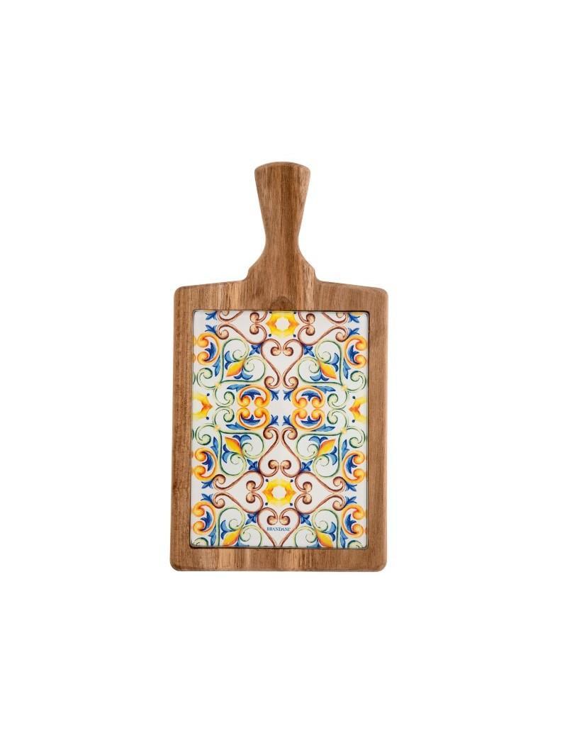 Tagliere in legno e vetro con decoro Medicea