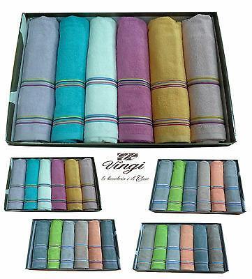 Set asciugamani spugna. VINGI RICAMI, MULTICOLOR. 6 Viso + 6 ospite. 100% Cotone