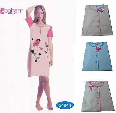 Camicia da notte con bottoni, mezza manica. OGHAM - 24944 Puro Cotone. 3 Colori.