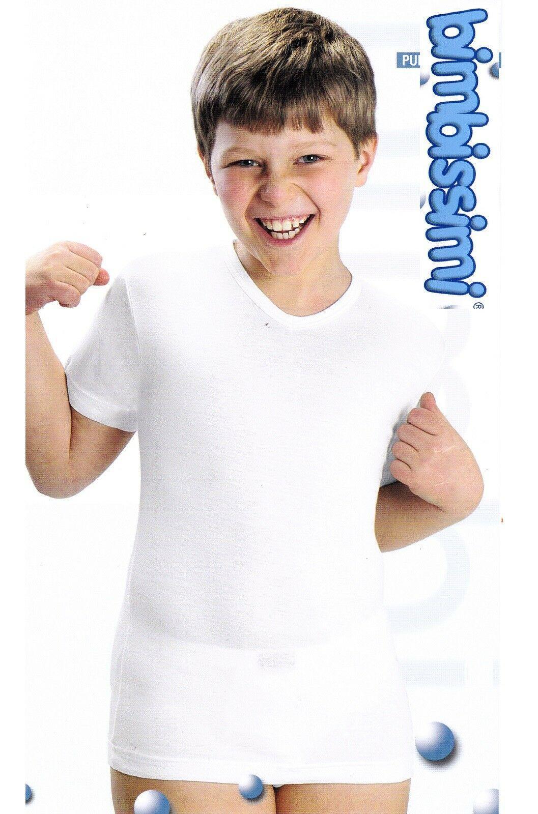 T shirt, Maglietta intima bimbo, Mezza manica, Scollo V. 100% Cotone. BIMBISSIMI