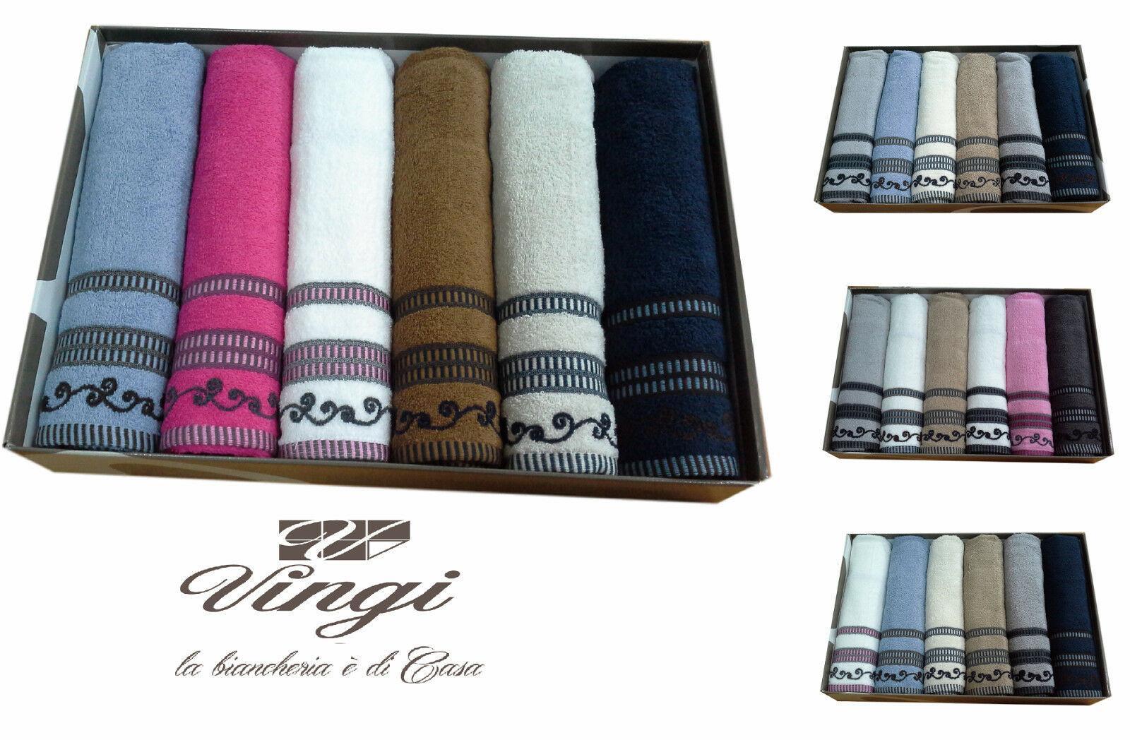 Set 12 asciugamani spugna. VINGI RICAMI, MARINA. 6 Viso + 6 ospite. 100% Cotone.