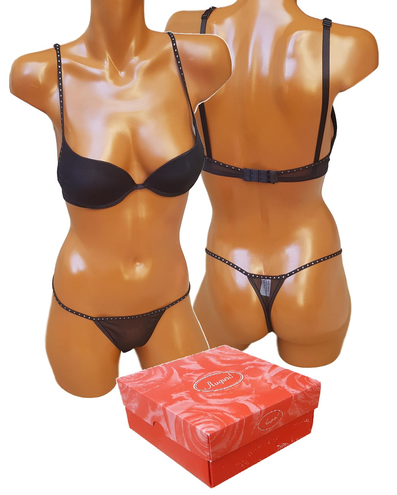 Completino Intimo donna con strass LIA LU. Perizoma + Reggiseno. Lingerie Sexy.