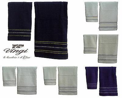 Coppia asciugamani spugna VINGI RICAMI, VANESSA. 1 Viso + 1 ospite. 100% Cotone.