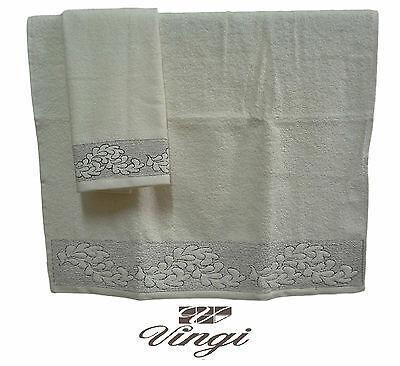 Coppia asciugamani spugna VINGI RICAMI DAISY FOGLIE 1 Viso, 1 ospite 100% Cotone