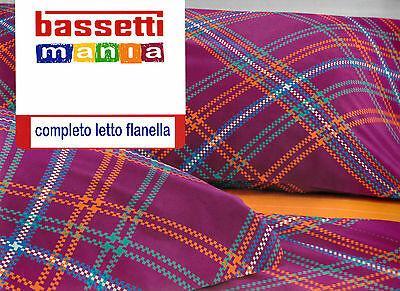 Completo Lenzuola Flanella BASSETTI. Singolo e Matrimoniale. LOW. Arancio lilla.