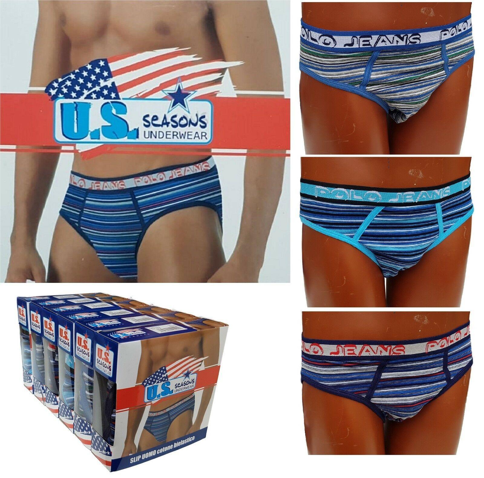 U.S. SEASONS. 6 Slip uomo cotone bielastico. Underwear - SM101.