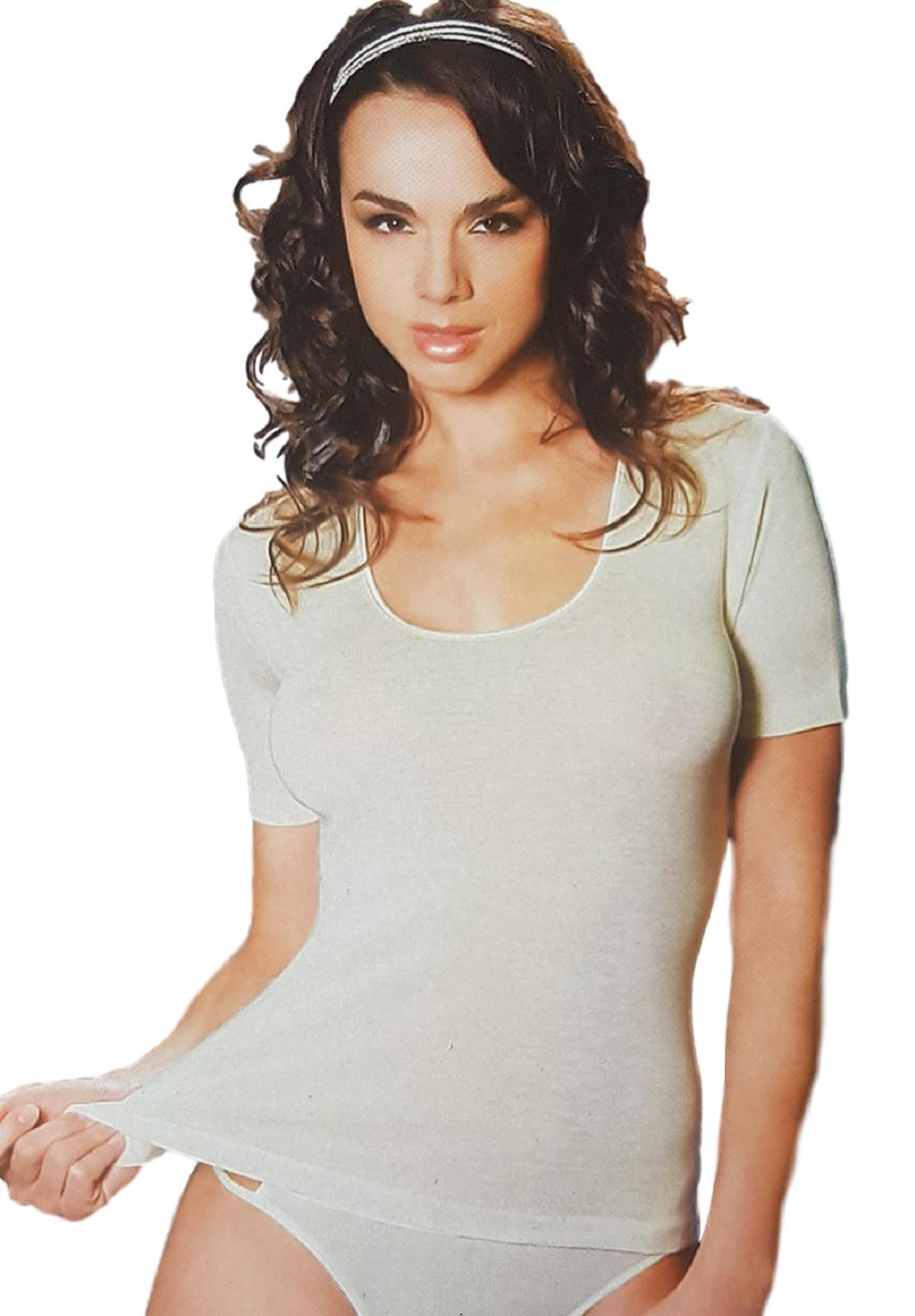 T-Shirt donna, maglietta a mezza manica Lana e Cotone Senza Cuciture MANUFAT 823