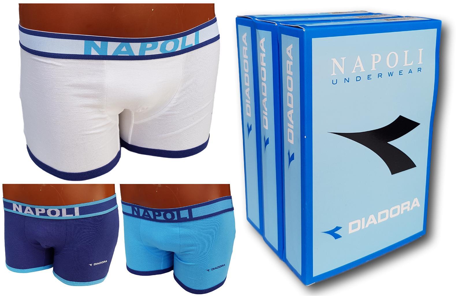 DIADORA. 3 Boxer uomo NAPOLI in Cotone con elastico esterno Art. 592.