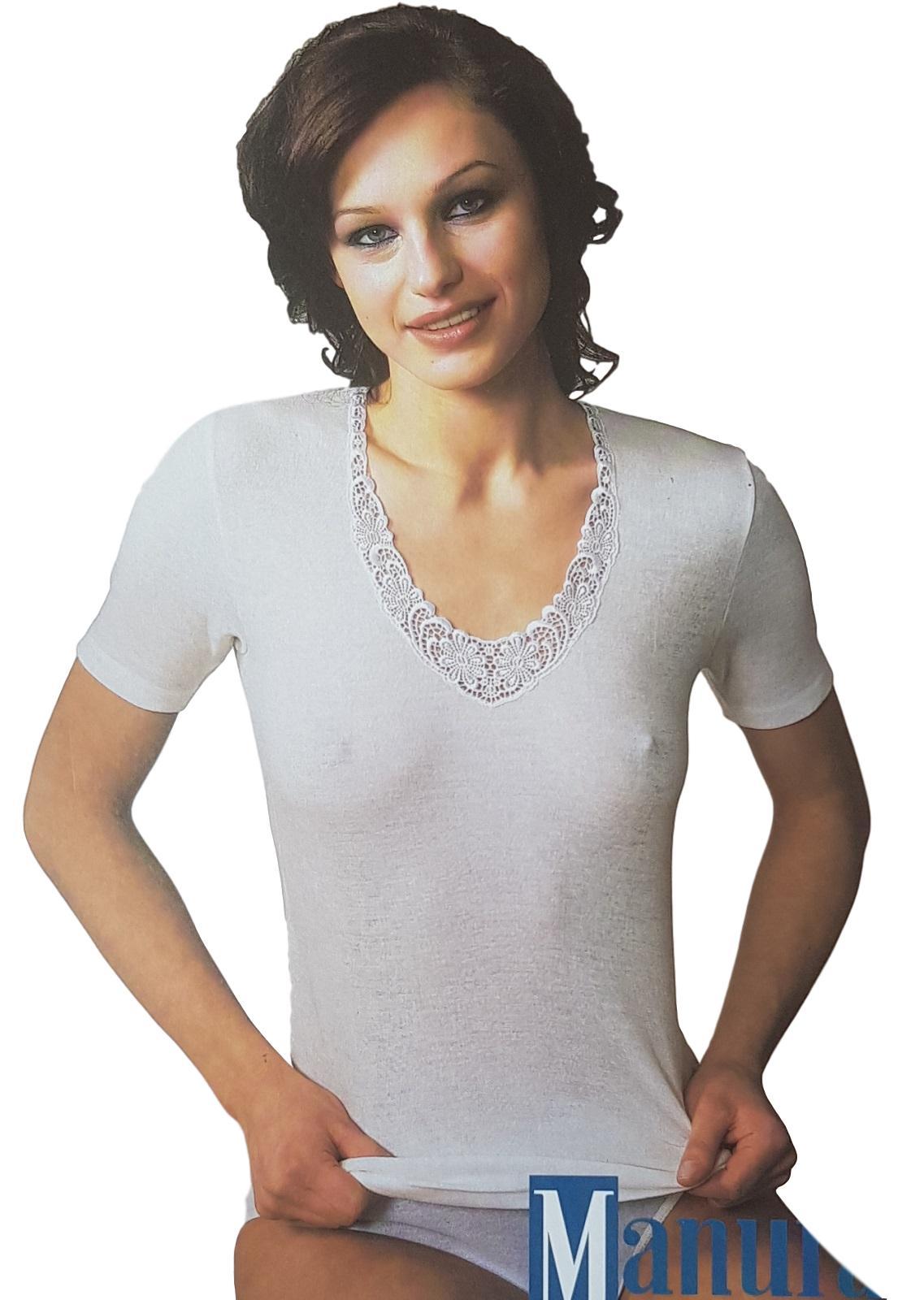 T-Shirt donna, maglietta a mezza manica Lana e Cotone Senza Cuciture MANUFAT 824