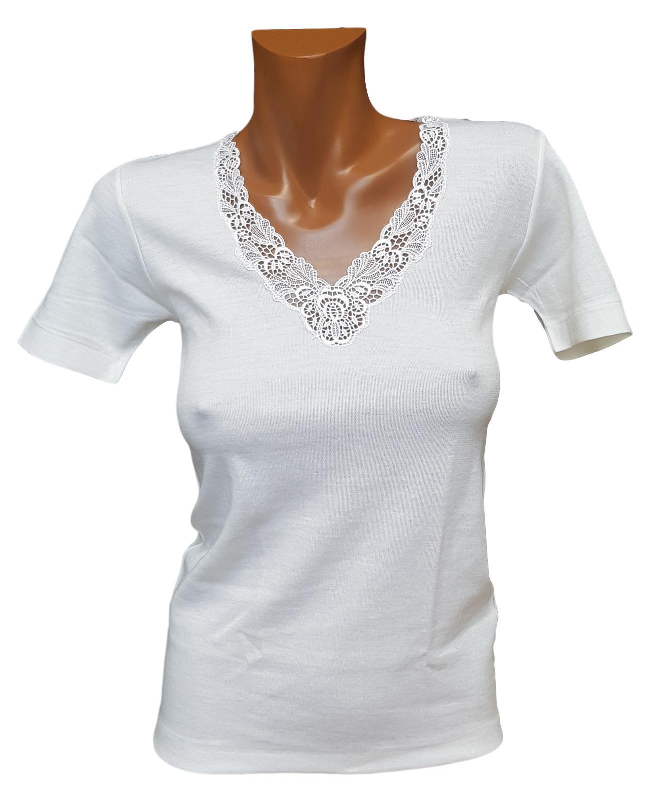 T-Shirt donna, maglietta a mezza manica Lana e Cotone sulla pelle MANUFAT 844