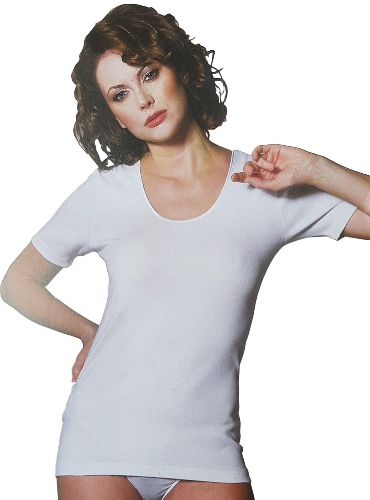 T-Shirt donna, maglietta intima a mezza manica in Caldo Cotone Mako' MANUFAT 880