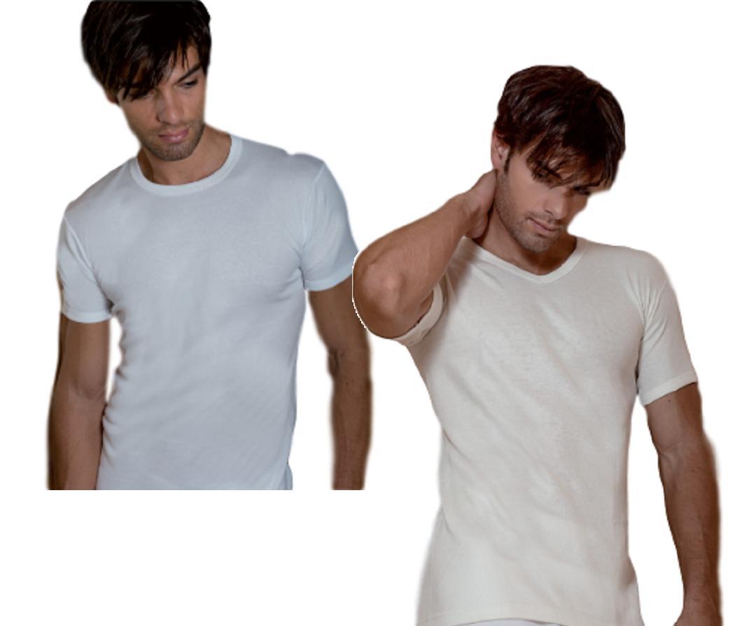 3x Maglietta intima Uomo manica corta paricollo o scollo V Caldo Cotone MABRAT
