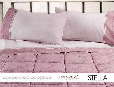 Completo letto, lenzuola in Caldo Cotone , MAE'. STELLA. Matrimoniale, 2 Piazze.
