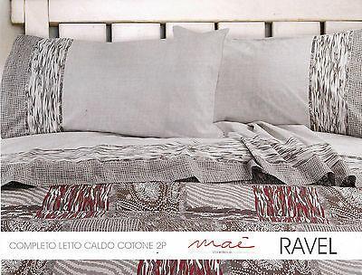Completo letto, lenzuola in Caldo Cotone, MAE'. RAVEL. Matrimoniale, 2 Piazze.