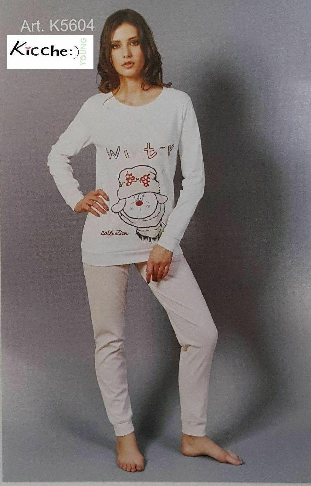 Pigiama invernale Donna in Caldo Cotone Lungo bordato KICCHE YOUNG - K5604