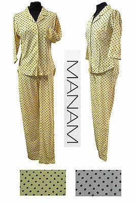Pigiama donna aperto bottoni, manica 3/4 e pantalone lungo. MANAM, 7801. Cotone.