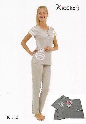 Pigiama donna. KICCHE YOUNG - K 115. Mezza manica, pantalone lungo. Cotone.