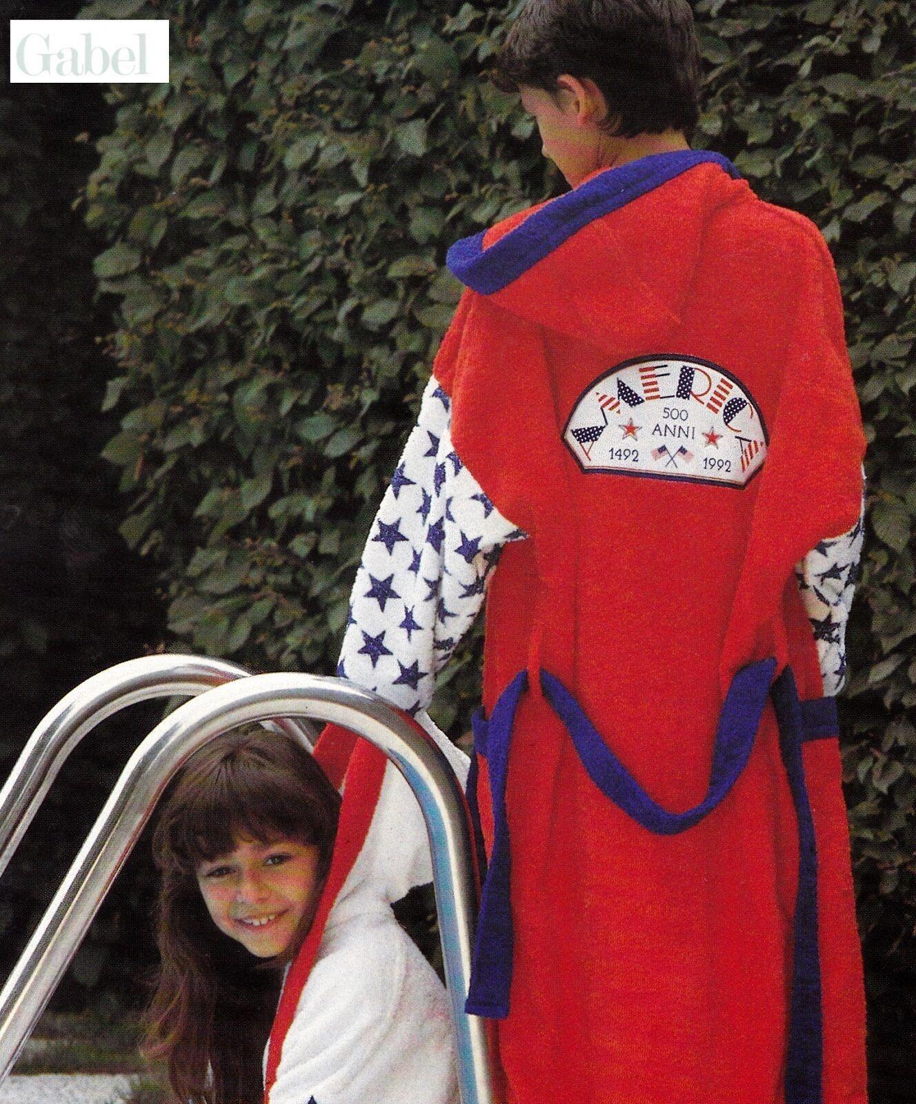 GABEL. Accappatoio JUNIOR, bambini, ragazzi. AMERICA 903167 Spugna 380 gr ITALY