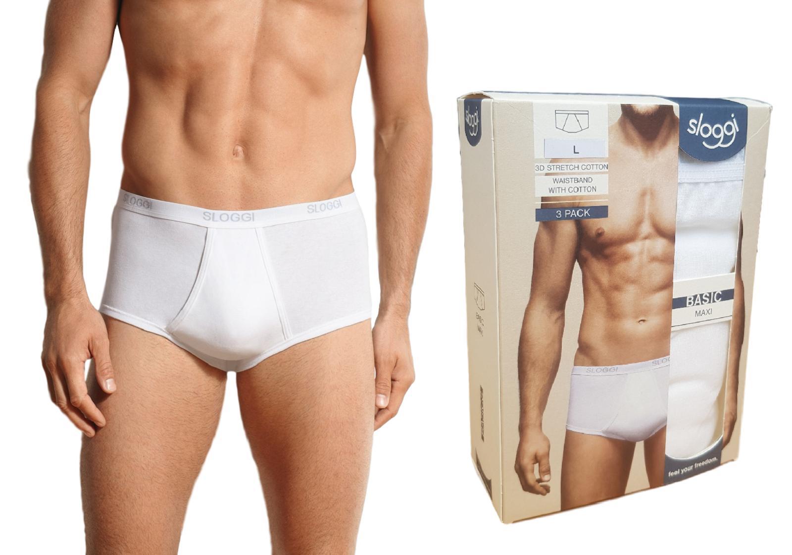 Slip Uomo 3 pezzi BASIC MAXI Strech Cotton elastico esterno SLOGGI Intimo 3-Pack