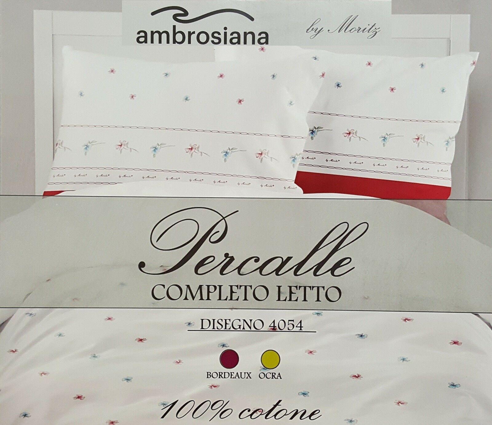 AMBROSIANA. Completo letto MAXI, Lenzuola 100% Percalle Cotone 4054 Matrimoniale