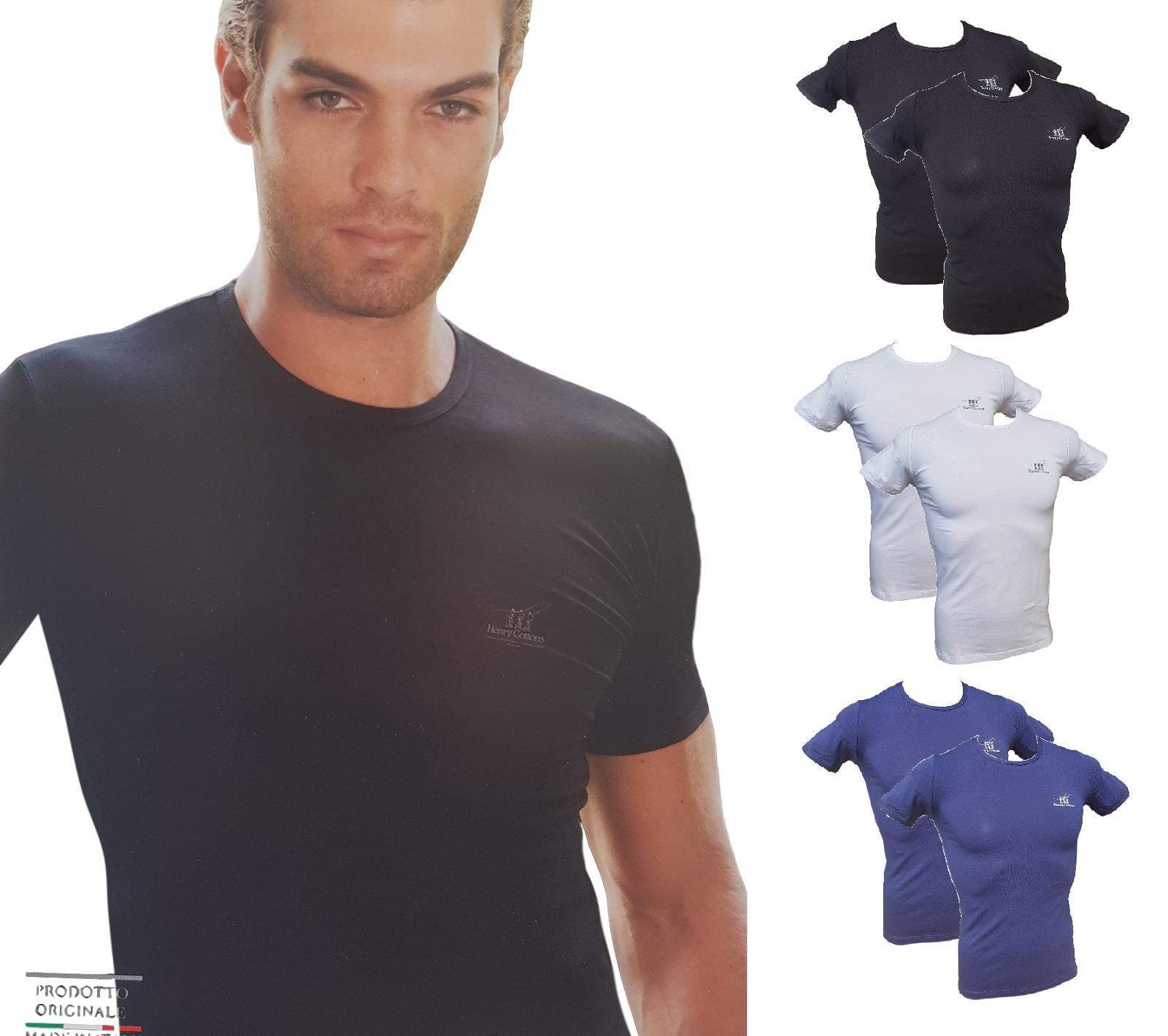 T-Shirt 2 Pezzi uomo in cotone bielastico maglietta corta HENRY COTTON'S HC/3007