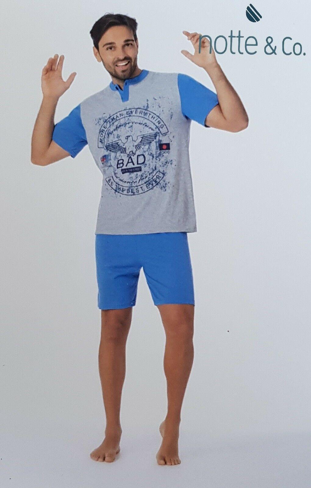 NOTTE & CO. Pigiama corto, Uomo in 100% Cotone. Art. 3555 LIMBO. Mod. Serafino.