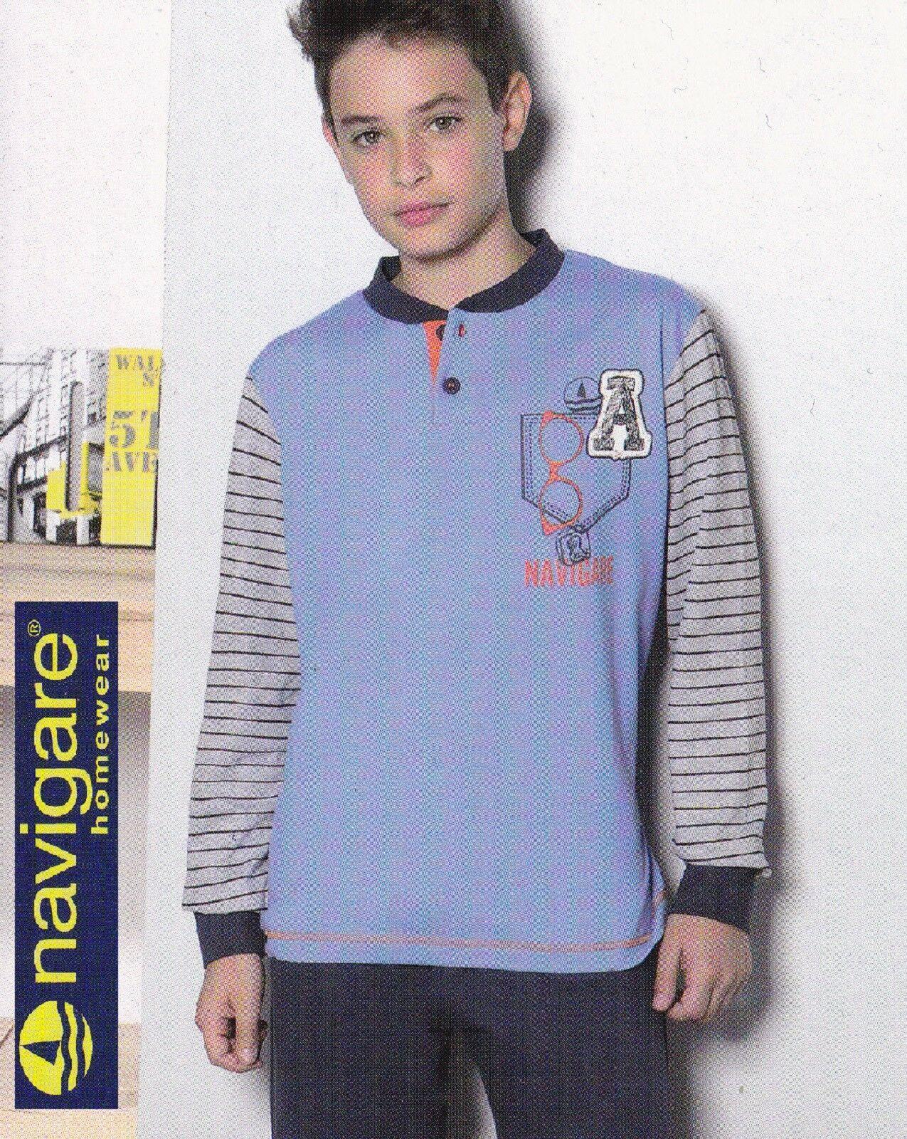 Pigiama Ragazzo Cotone Jersey, Pantalone + Manica lunga. NAVIGARE homewear 15418