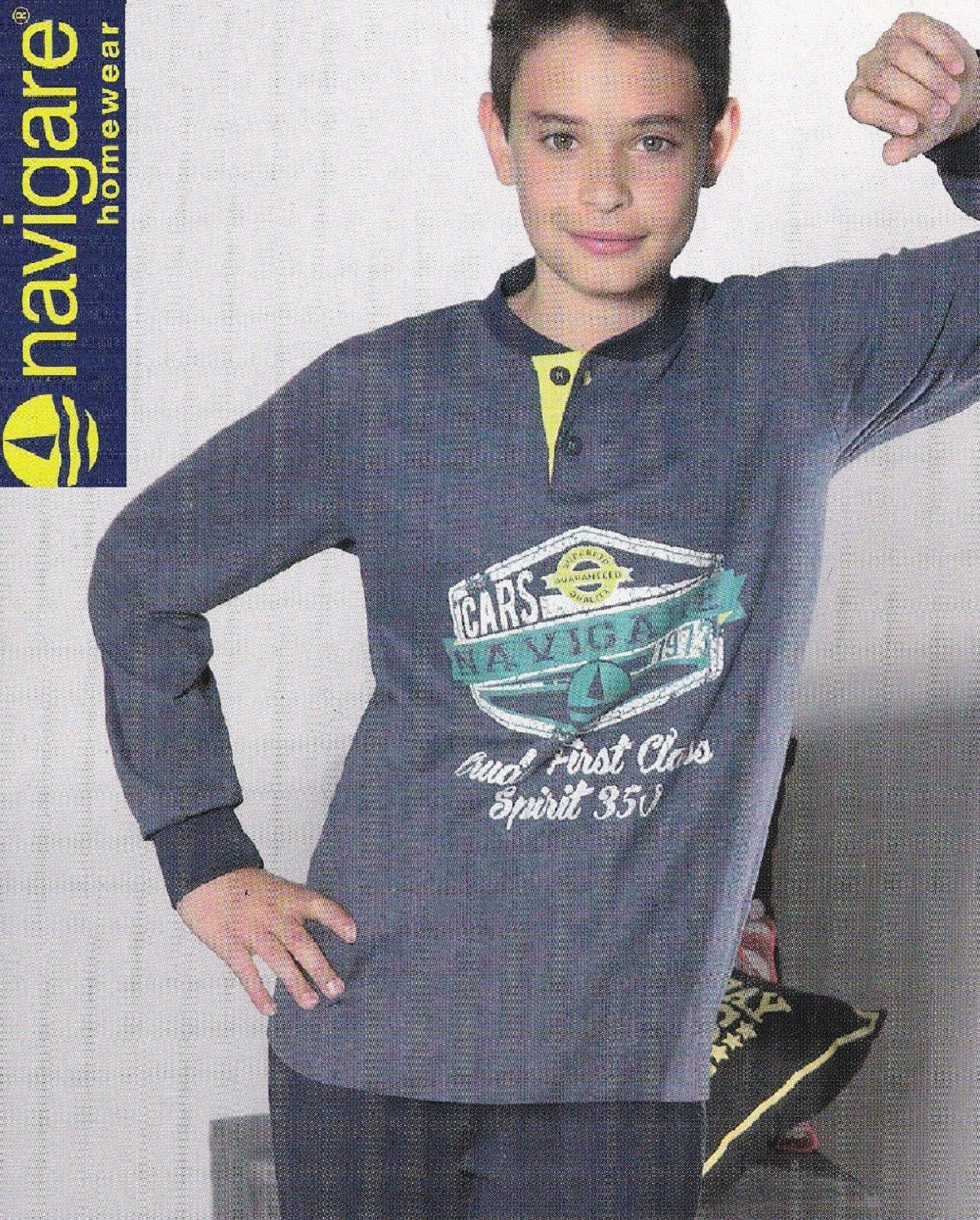 Pigiama Ragazzo Cotone Jersey, Pantalone + Manica lunga. NAVIGARE homewear 15421