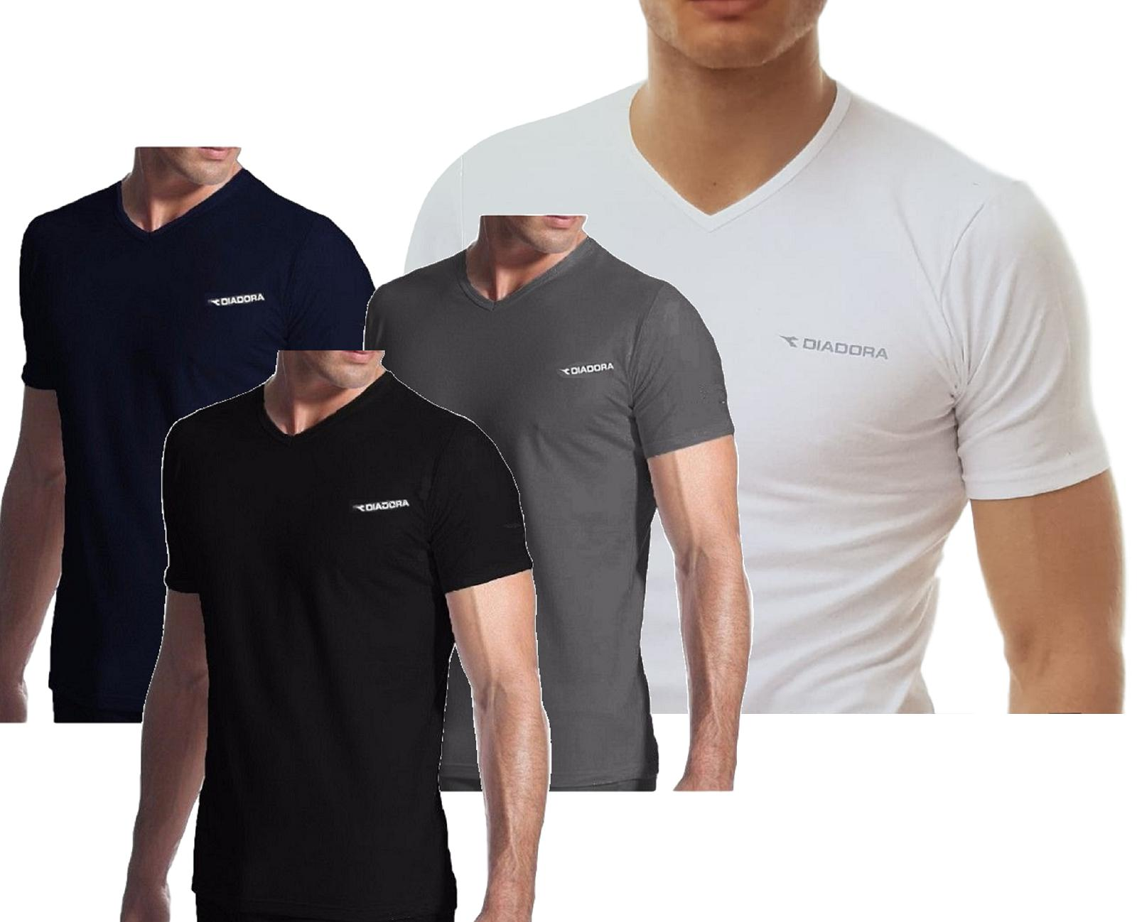 T-Shirt uomo, maglietta intima manica corta scollo V Cotone elastico DIADORA 901