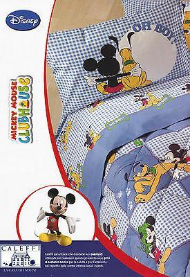 Completo Letto - Lenzuola cotone. Singolo. DISNEY - CALEFFI. Mickey e Pluto.