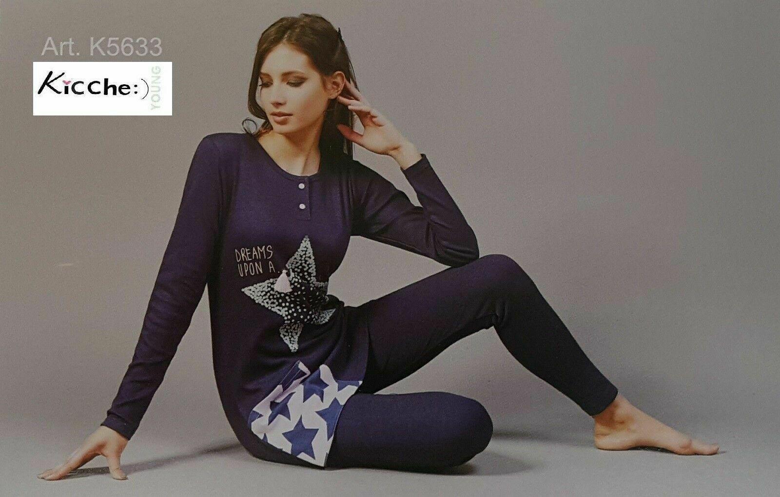 Pigiama invernale Donna in Caldo Cotone Lungo Orlato  KICCHE YOUNG - K5633