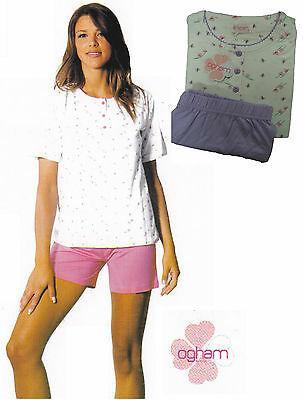 Pigiama donna OGHAM. Mezza manica - pantalone corto. Cotone. 3 bottoni - 22916.
