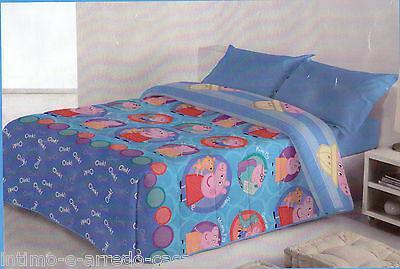Trapunta. PEPPA PIG. Singolo - 1 piazza. CIRCLES SAFARI. Azzurro Double-face.