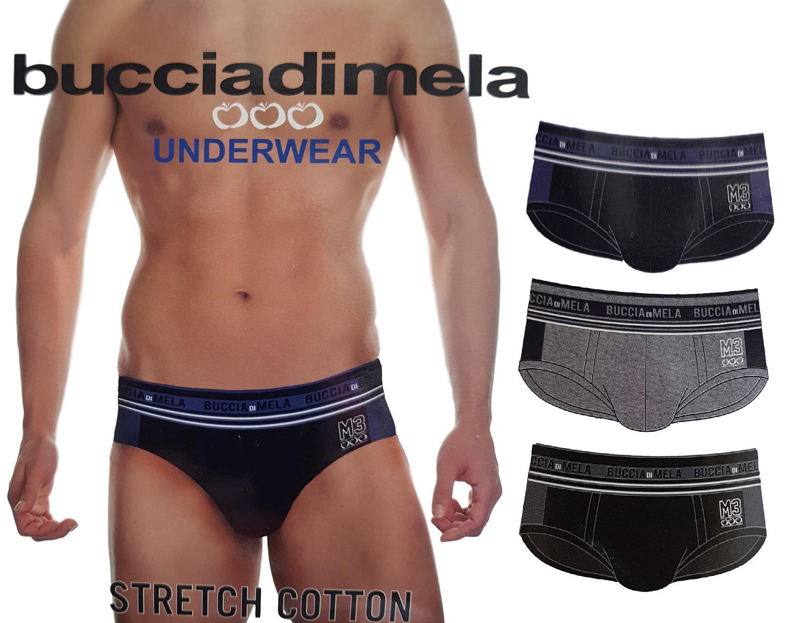BUCCIADIMELA. 3x Slip uomo STRECH COTTON Underwear - S111. Grigio + Blu + Nero.